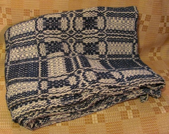 Antique Linsey Woolsey Coverlet Overshot Woven Blue Wool & White Cotton