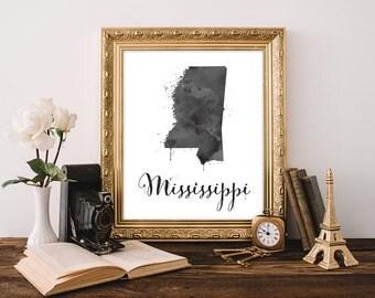 Mississippi state,  Mississippi map, Mississippi art, Mississippi print, Watercolor Mississippi wall art, Mississippi wall decor, State art