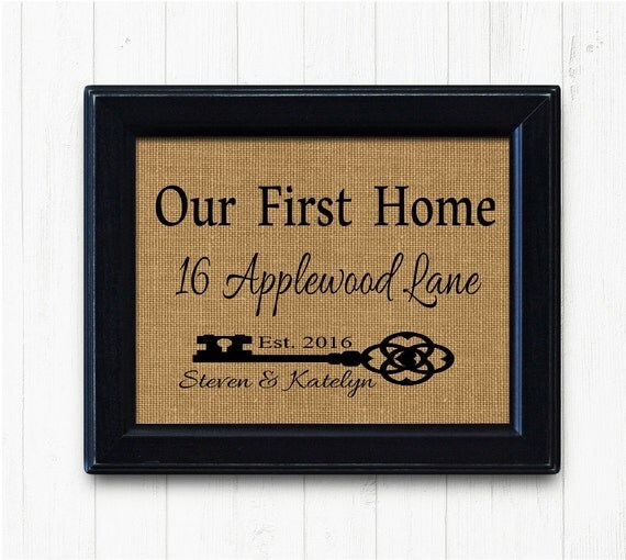 New home sign housewarming gift our first home burlap print for New home sign