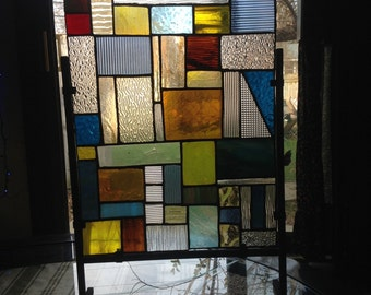 Multicolor Patchwork Abstract Stain Glass Panel with Rod Iron Frame