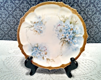 "Antique ""Claire"" Dessert Plate by Rosenthal, Bavarian Porcelain, Blue Floral, Hand Painted, Signed by Artist, Art Nouveau, Circa 1900s"