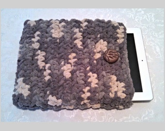 Chenille 10 Inch Tablet iPad Cover with Vintage Button, Hand Crocheted Tablet Sleeve, Gray, #SS-B12-1, Washable, Free Domestic Shipping