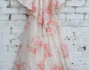vintage cream pink floral flower sheer 70s Cape angel sleeves gypsy hippy maxi boho dress S