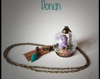 Bijoux Collier mini-terrarium en verre - Ronan le poisson chat'poltron  -