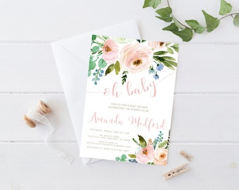 Girl Baby Shower Invitation, Watercolor, Pink, Spring Baby Shower Invitation (851)