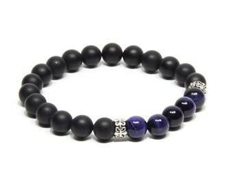 Cadeau copin Cadeau copine agate noir oeil de tigre bleue perles argent 925  Bracelet pour hommes
