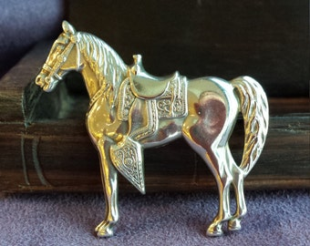 Sterling silver Horse brooch with decorative sad
