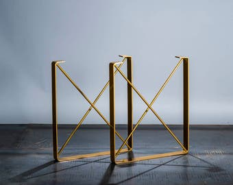 "BRASS/GOLD Powder Coat Finish - Metal Dining Table Legs, ""U"" Shaped Steel Table Legs with ""X"" Steel Rod Cross Pieces- Free Ship"