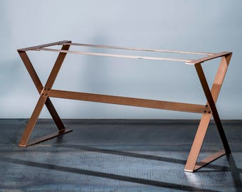 Copper Dining Table Base - Full Unit - Copper Table Legs - Modern Table base - Steel Table legs - Iron Dining table legs