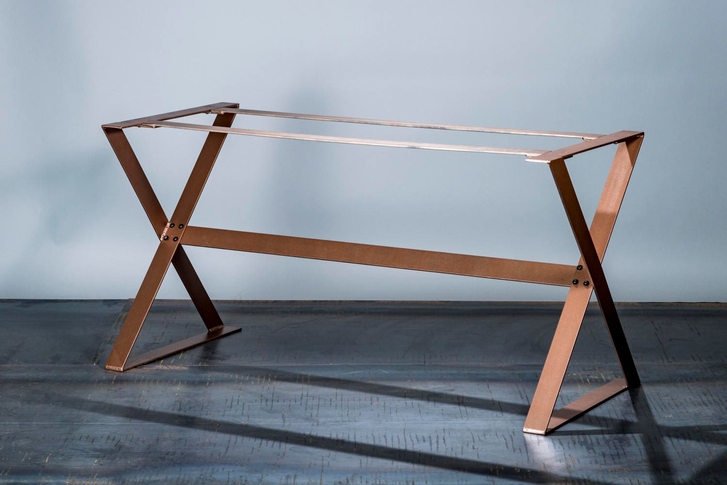 copper dining table base  full unit  copper table legs  modern  - sold by timberforgewoodworks