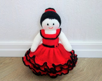 Knitted Flamenco Dancer Doll - Knit Spanish Doll -  Spanish Dancer - Size 13 inches (MADE TO ORDER)