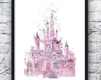 Disney Castle Watercolor Print, Castle Art, Colorful Poster, Kids Room Decor, Nursery Decor, Girls Room Decor, Wall Art, Home Decor - 568-1