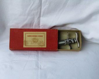 Antique metal syringe in original carton box. Vintage syringe, Antique syringe,  steel syrigne, vintage syringe injection!