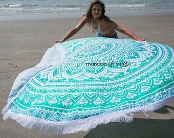 Bohemian Mandala Tapestry Beach Roundie, Mandala Beach Blanket, Boho Chic Mandala Tapestry