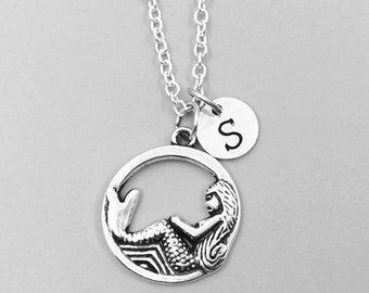 Mermaid necklace, personalized necklace, mermaid charm necklace, initial necklaces, mermaid charm, mermaid pendant, mermaid jewelry, mermaid