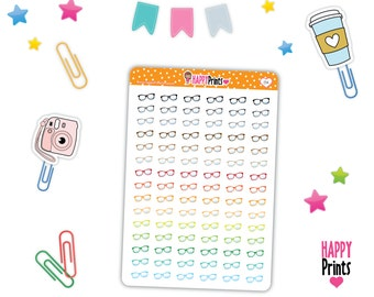 HP 154) -- Rainbow Glasses Stickers, Hipster Glasses Stickers