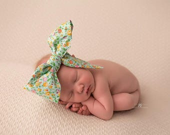MINT BLOOM Gorgeous Wrap- headwrap; fabric head wrap; floral head wrap; boho; newborn headband; baby headband; toddler headband