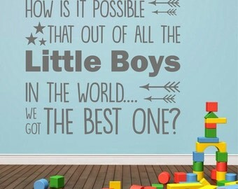 Best little boy | Wall sticker decal quote for little boys bedroom | Vinyl graphics | WQB48