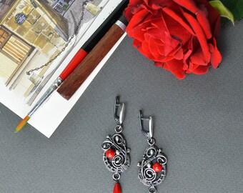Wire wrapped earrings, sterling silver earrings, red coral jewelry, coral earrings, bohemian earrings, 925 silver, wirewrapped jewelry, boho