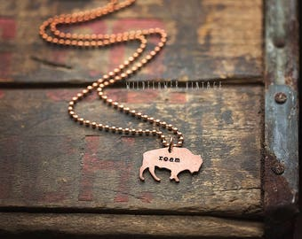 Buffalo Bison Necklace | Hand Stamped Copper Roam Live Free