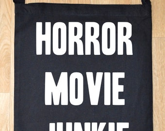 Horror movie junkie tote bag - horror bag - horror tote bag - funny tote bag - funny tote bags - horror sling tote bag - horror gift idea