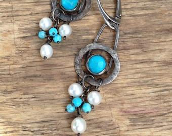 Sterling silver turquoise earrings freshwater pearl earrings bohemian jewelry rustic earrings rustic jewelry boho earrings dangle earrings