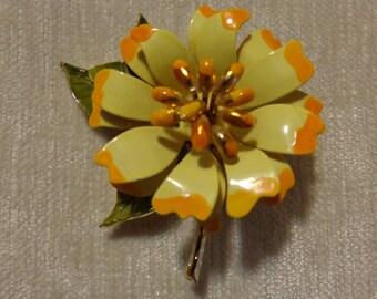 Vintage enamel flower brooch, yellow with orange