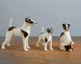 Set of 3 Vintage Miniature Bone China Dog Figurines - Shiken, Japan