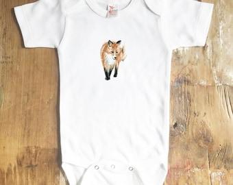 Fox Bodysuit - Animal Bodysuit - Red Fox Bodysuit - Watercolor - Baby - Baby Girl - Baby Boy Bodysuit - baby shirt - Fox - woodland