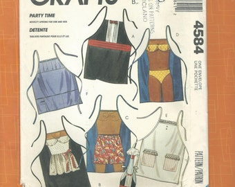 McCalls Crafts 4584 1980s Adult Apron Sewing Pattern~ Complete