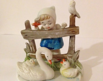 Vintage Dutch Girl Hummel Style Figurine~ Girl with Ducks, Collectible, Bisque, Mid Century, Hand Painted, Girl Feeding Ducks, Gift For Her