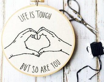 Funny hoop art Hand embroidery Embroidery hoop art Heart hands Motivational Sign Embroidery art Hand hoop art Custom embroidery stitches
