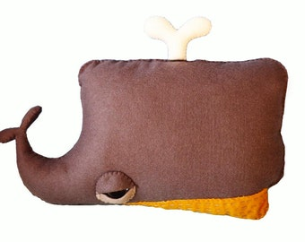 Moby the Whale - handmade plush creature cushion - home decor birthday gift