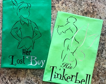 TinkerBell - Her Lost Boy, His Tinkerbell - Shirt Set - Both shirts Included!  - Tinker Bell & Peter Pan