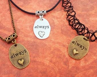 Always Choker, Heart Necklace, Romantic Jewelry, Loving Charm, Sentiment Pendant, Relationship Charm, Girlfriend Jewellery, Teen Choker