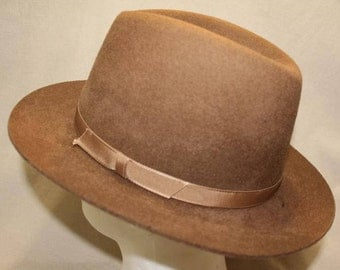 Vintage Brown L. L. Bean Fedora Trilby Homburg  Dress Hat Lightweight Felt Made in England Size Meduim
