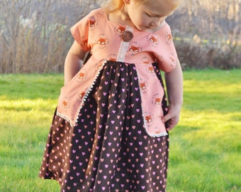 5T Girls Fox Dress, Ready To Ship, Little Girls Dress, Toddler Dress, Fall Dress, Girls Dress with Pockets, Boutique Clothes, Girls Gift