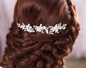 Ivory bridal hair pins White bridal hairpiece Ivory hair piece Rhinestone hair pins Crystal hair pins Bridal Hair Piece Rhinestone headpiece