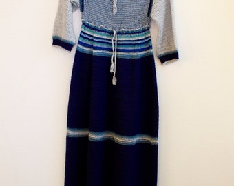 vintage knit crochet  dress hippie 70s boho handmade