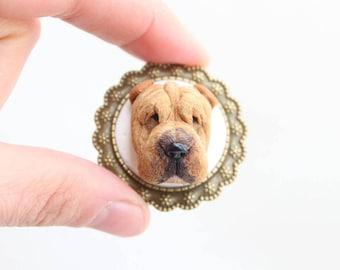 Custom dog portrait, custom pet portrait, personalized dog jewelry, personalized pet jewelry, custom sharpei, custom dog brooch, pet art
