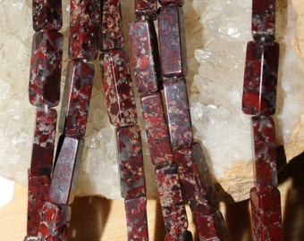 "16"" Strand of 12 X 3mm Smooth Poppy Jasper Rectangle Beads #63"