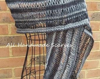 Hand knit Grey Scarf