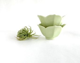 Vintage Green Lotus Bowls, Vintage Japanese Lotus Bowls Set of 2