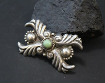 Sterling Silver Signed Designer Repousse Brooch Pin with Green Turquoise by AE in M