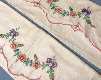 Set of Two Vintage Embroidered Cotton Pillowcases, Floral Pattern