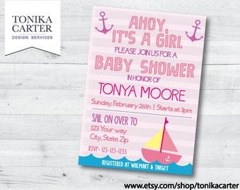 Nautical Baby Shower Invitation (girl)