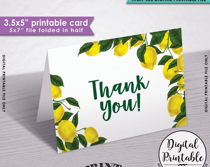 "Lemon Thank You Card, Lemon Themed Tuscan Garden Party, Tropical Summer Lemons, Italy, 3.5x5"" folded card, 5x7"" Printable Instant Download"