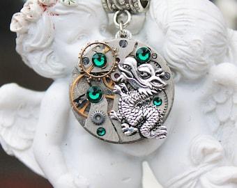 Steampunk dragon necklace with swarovski  emerald green crystals
