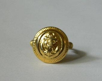 Handmade vintage button ring