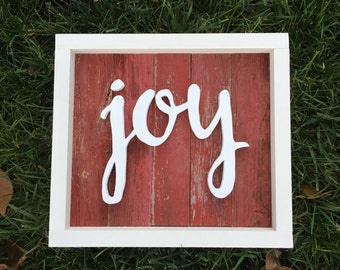 Joy Sign | Rustic Red Reclaimed Barnwood | Wood Cutout Sign | Reclaimed Wood Sign |